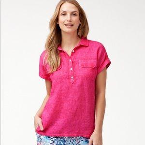Tommy banana women's linen pink sea spray shirt l
